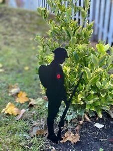 """Metal Soldier Silhouette - Powder coated 12"""" with poppy  - Special Edition"""