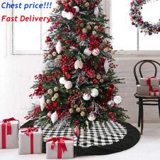 120cm Christmas Tree Skirt Black White Plaid Check Xmas Tree Apron Holiday Decor
