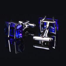 Blue Crystal Stainless Steel Men's Wedding Dressing Decor Cufflinks Cuff Links