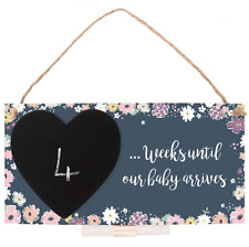 Wooden Floral Weeks Until Our Baby Countdown Chalkboard Hanging Sign Plaque