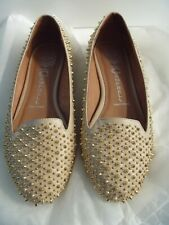 JEFFREY CAMPBELL MARTINI EMBELLISHED SHOES STUD DOLLY FLAT PUMP LOAFERS NUDE 6