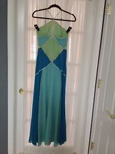 BCBG Green Blue Sequin Silk Dress Gown Size 6