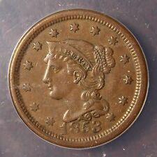 1853 Braided Hair Large Cent, N-15, Interesting Misplaced Date, AU-50