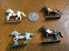 FOUR MINIATURE PAINTED LEAD? SOLDIER- HORSES MIXED COLOR  HORSES + ACCENTS AS IS
