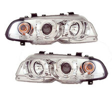 Chrome Angel Eye Projector Headlights For BMW 3 Series E46 Coupe 98-02 Halo LED