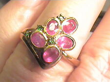 STERLING GREEN sapphire SILVER RING 7 ESTATE ruby YELLOW gold small delicate