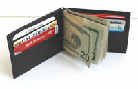 MEN'S GENUINE LEATHER SPRING MONEY CLIP WALLET BIFOLD Thin Credit Card Holder