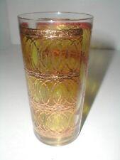 3 Georges Briard Mcm Gold Green Interlocking Cat's Eye Circle Glass Tumblers