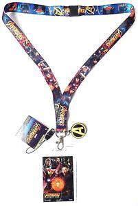 "AVENGERS Infinity War Lanyard Keyring MARVEL ""A"" Logo charm + ID HOLDER NEW"