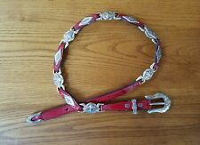 Circle y western belt size 30. red leather with silver NWT