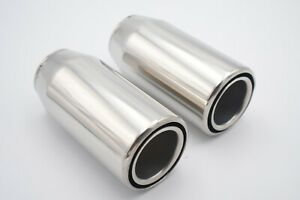 """Pair of 3"""" Double Wall Sports Exhaust Tail Pipe High Quality Stainless Steel 304"""