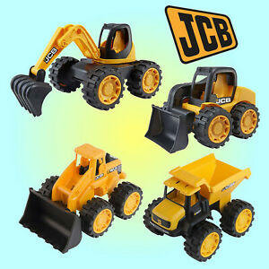 "HTi JCB Mini Trucks Set of 4 7"" Construction Vehicles Diggers Tractor - 1416235"