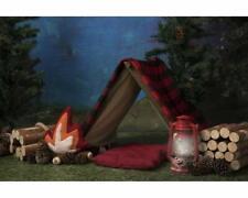 7x5ft Camping Tent Campfire Wood Lumberjack tree  Background kids backdrop