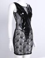 Women Wet Look Leather Lace Sleeveless Mini Clubwear Dress Evening Party Bodycon