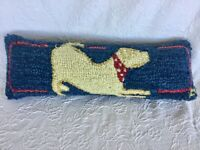 """New 22"""" Chandler 4 Corners Yellow Lab Playing Dog Hooked Pillow golden retriever"""
