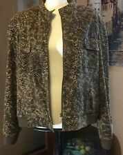 McNaughton leopard animal print lightweight lined zipper collarless jacket 18W