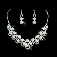 Fashion Women Pearl Crystal Necklace Earrings Bridal Wedding Party Jewelry Set N