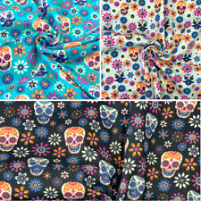 Polycotton Fabric Mexican Candy Skulls Moustache Floral Flowers Gothic Halloween