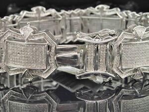 Mens Full White Diamond Bracelet Bangle Tennis XL Pave Link Design 5.16 ct. 24mm