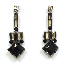 Butler and Wilson Black Crystal Art Deco Style Drop Earrings 45th Anniversary