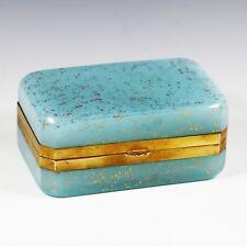 Vintage Italy Murano blue opaline Aventurine glass trinket or jewelry hinged Box