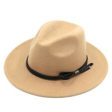 Women Wool Blend Panama Hats Wide Brim Fedora Trilby Caps Leather Cord Band Cfyx