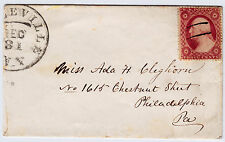 """#26A-3 Cents 1857, 49L10i, """"...LEVILLE/DEC/31/N.Y."""" CDS to Ada Cleghorn, Philly"""