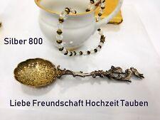 Bezaubernder großer Zuckerstreulöffel  Silber 800 Tauben Liebe Hochzeit 1900