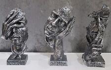NEW!  See no evil, Hear no evil, Speak no evil, Dali  abstract faces, sculptures