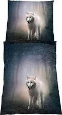 Bettwäsche-Garnitur Microfaser Grau Wolf Wölfe Indianer 80x80  bzw 135 x200