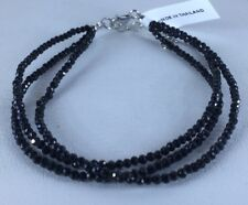 Thai Black Spinel 3 Strand Sterling Silver Bracelet 7.5 To 9.5 Inches Sparkle!