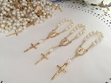 100 Mini  Rosary Off White Baptism Favors /Gold Plated / Recuerdos De Bautizo