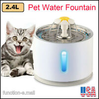 2.4L Automatic Stainless Steel Pet LED Water Fountain Cat Drinking Dispenser US