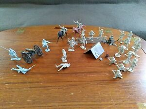 Marx 54mm Civil War Figures And Accessories/ Metal cannon.60's
