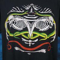 vintage 80s SKELETON SNAKE PUNK PAPER THIN T-Shirt LARGE biker zombie skull rock