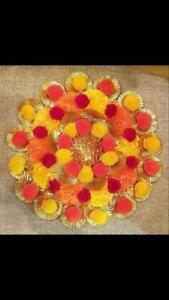 Rangoli TEALIGHT/Diya of Hand Artificial Gotta Patti & Pompom diya