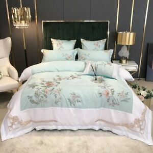 Satin Like Silk Cotton Luxury Chinese Embroidery Bedding Set Cover Fitted Sheet