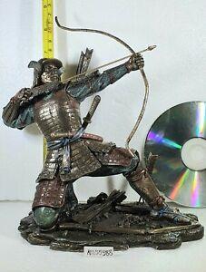 Bronze Effect Samurai Figure / Statue  Archer Warrior Kneeling by Veronese NEW