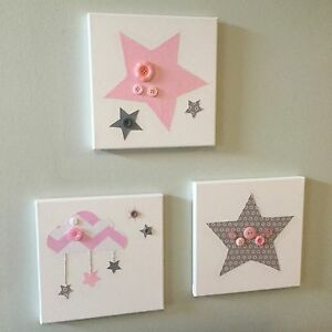 SET OF 3 HANDMADE NURSERY GREY PINK STAR CLOUDS CANVASES new baby girl children