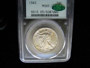 1943 50C MS65 CAC Walking Liberty