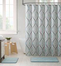 Elegant Blue Brown Neutrals Fabric Shower Curtain: Teardrop Paisley Print