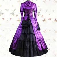 Gothic Steampunk Lolita Victorian Evening Party Purple Dress Costume Halloween
