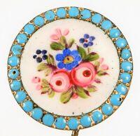 ANTIQUE SILVER ? HAT STICK PIN FINE PAINTED FLOWERS BLUE TURQUOISE ENAMEL BORDER