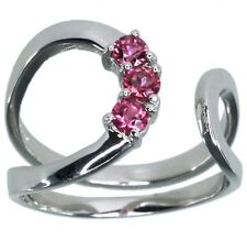 Pink Tourmaline Gemstone Open Wrap Sterling Silver Ring size M