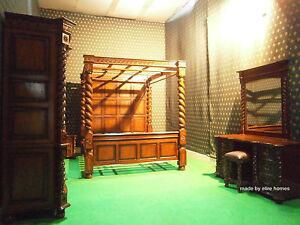 Super King TUDOR Canopy four poster Bedroom set 100% solid mahogany bed bedsides