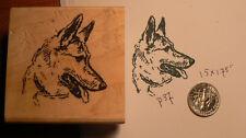 "P37  German Shepherd dog rubber stamp WM 1.75x1.75"""