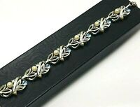 Vintage Lisner Blue Rhinestone Faux Pearl Choker Leaves Necklace Silver Tone
