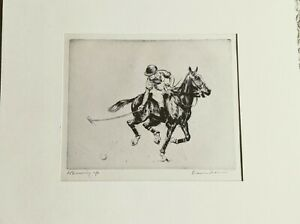 """Diana Thorne drypoint etching """"Warming Up"""" 1930s pencil signed matted"""