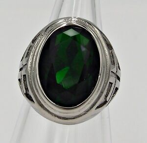 MEN RING EMERALD STAINLESS STEEL SILVER CROSS KNIGHT TEMPLAR MEDIEVAL BIG SIZE 8