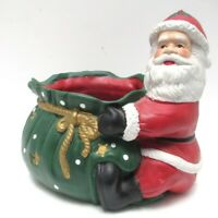 """Vintage Christmas Ceramic Seated Santa Claus Holding Bag 6"""" Tall Candy Goodies"""